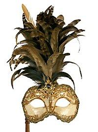 Galetto Colombina stucco craquele oro con bastone Venezianische Maske