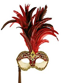 Galetto Colombina stucco craquele rosso con bastone - Venezianische Maske