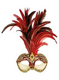 Galetto Colombina stucco craquele rosso piume rosse - masque vénitien