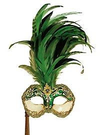 Galetto Colombina stucco craquele verde con bastone - Venezianische Maske