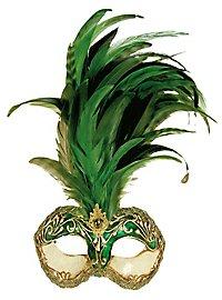 Galetto Colombina stucco craquele verde piume verde - Venezianische Maske