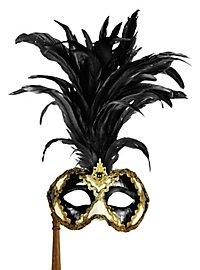 Galletto Colombina scacchi bianco nero con bastone - Venezianische Maske