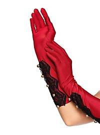 Gants en satin rouge avec garniture de dentelle
