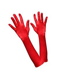 Gants longs rouges en satin