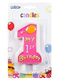 Geburtstagskerze My 1st Birthday rosa
