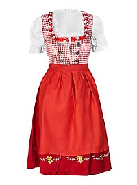 Gingham Dirndl with Lace red & white