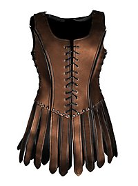 Gladiatorin Lederrüstung mit Zaddeln schwarz