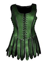 Gladiatorin Lederrüstung mit Zaddeln grün