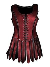Gladiatorin Lederrüstung mit Zaddeln rot