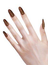 Glitter fingernails copper
