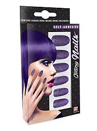 Glitter fingernails violet