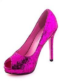 Glitter Peep Toe Heels fuchsia