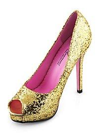 Glitter Peep Toe Heels gold