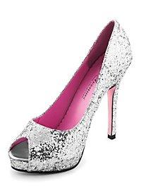 Glitter Peep Toe Heels silver