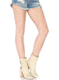 Glittering crochet tights white