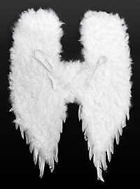 Grandes ailes de démon en plumes blanches