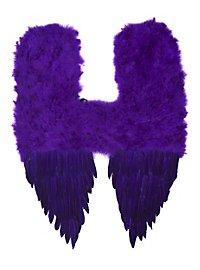 Grandes ailes de démon en plumes violettes