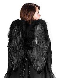 Grandes ailes en plumes noires