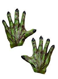 Grüne Monsterhände aus Latex