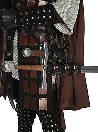 Gürtelgehänge mit zwei Schwertscheiden schwarz