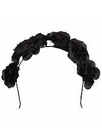 Hairband with roses black