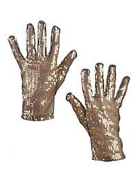 Handschuhe Pailletten gold