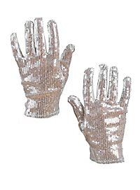 Handschuhe Pailletten silber