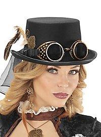 Haut-de-forme bas steampunk et lunettes