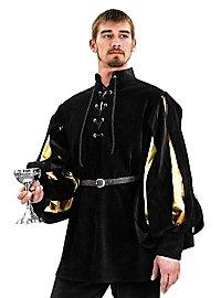 Hemd mit geschlitzten Ärmeln- Armand schwarz/gold