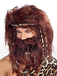 Höhlenmensch Bart und Perücke