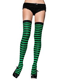 Hold up stockings black-maigreen ringed