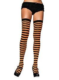 Hold up stockings black-neonorange ringed