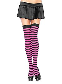 Hold up stockings black-neonpink ringed