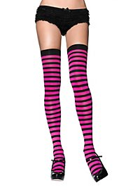 Hold up stockings black-pink ringed