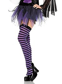 Hold-up stockings black-violet, striped