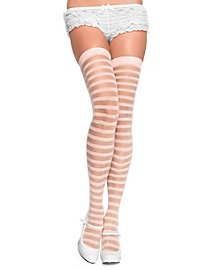 Hold up stockings pink ringed