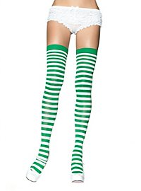 Hold-up stockings white-may green, striped