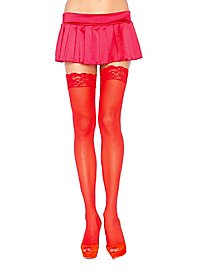 Hold up stockings with lace border red