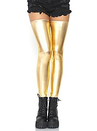 Hold up wetlook stockings gold