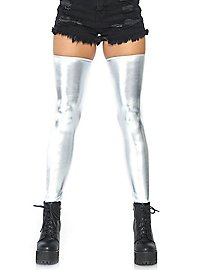 Hold-up wetlook stockings silver