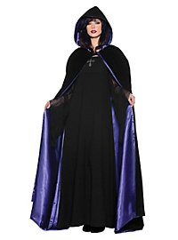 Hooded cape black-purple