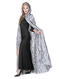 Hooded cape quilted silver