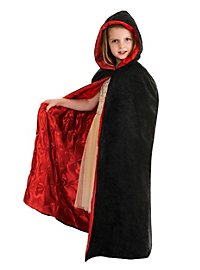 Hooded cape with light red lining for children