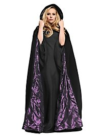 Hooded cape with purple lining