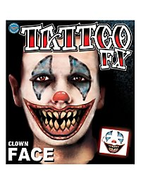 Horrorclown Gesicht Klebe-Tattoo