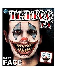 Horrorclown Gesicht Klebe-Tattoo