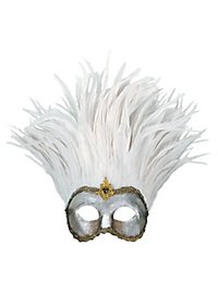 Incas Colombina argento piume bianche - Venezianische Maske