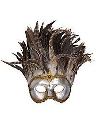 Incas Colombina argento piume miele Venezianische Maske
