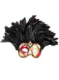 Incas Colombina scacchi colore piume nere Venetian Mask