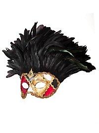 Incas Colombina scacchi colore piume nere Venezianische Maske